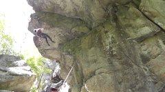 Rock Climbing Photo: 11d roof crack at an hidden crag near Chapel Pond,...