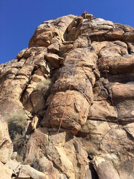 Rock Climbing Photo: The climb starts on the semi-detached pillar.