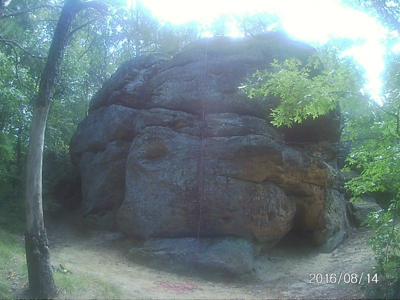 Boulder about 20' little bit of a challenge... this one is right as you walk up the wood steps and go left .