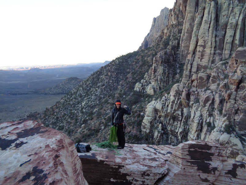 Rock Climbing Photo: Top of Geronimo in January Red Rocks - way to f*%&...