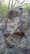 Rock Climbing Photo: Sitting near the left crack, trend right then up o...