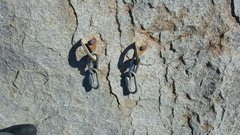 Rock Climbing Photo: Rappel rings halfway up pitch one. Used for rappel...