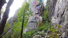 Rock Climbing Photo: Yellow - Banana Hammock ;  Red - Mean Mug ;  Blue ...
