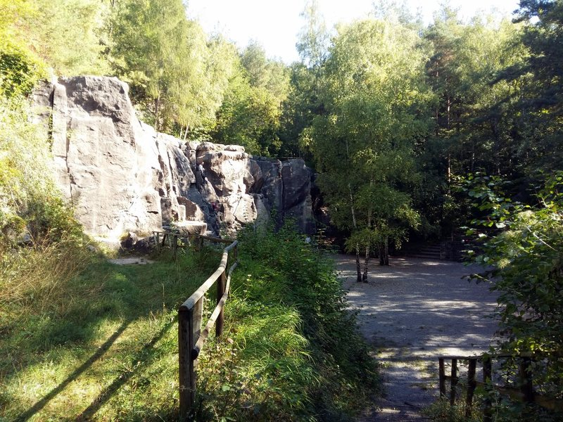 The crag. In the sun midday but still with shady areas on the sides