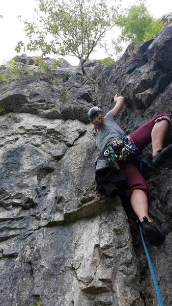Rock Climbing Photo: Jo starting up the strenuous grove at the base of ...