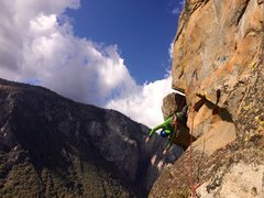 "Rock Climbing Photo: Mike ""hanging out"" on the pitch 8 traver..."