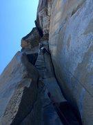 Rock Climbing Photo: 5.11b variation to pitch 3. Steep!