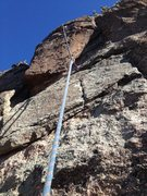 Rock Climbing Photo: Looking up at the crux area.