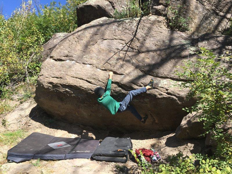 Rock Climbing Photo: Layton starts Rail Riddler