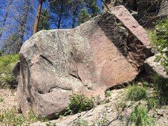 Rock Climbing Photo: Ramp boulder. L to R Blade Runner  Neat, thin arê...