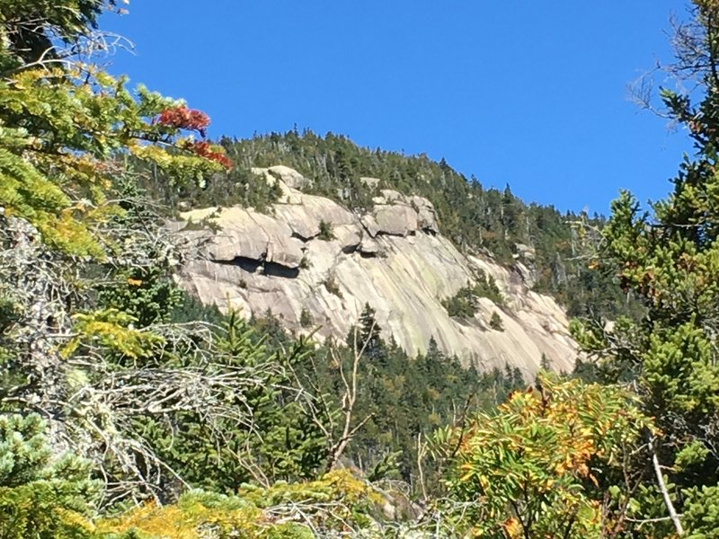 Close-up of main face from Mccrillis trail. From this point, it is still ~1 hr to the top of Mt. Whiteface