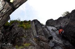 Rock Climbing Photo: John Pikus leading Windjammer, an aesthetic line o...