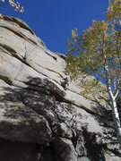 Rock Climbing Photo: Kevin McCall leads.  You can see the thin crack on...