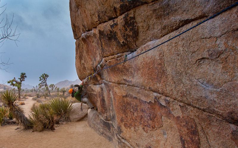 Rock Climbing Photo: Ian performs a mandatory figure 4 to top out after...