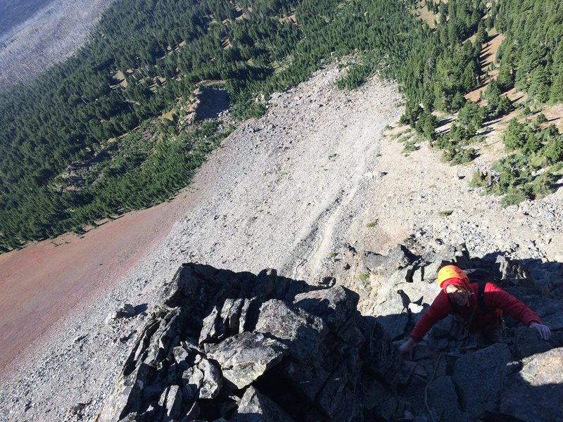 Rock Climbing Photo: Me following up the third pitch.