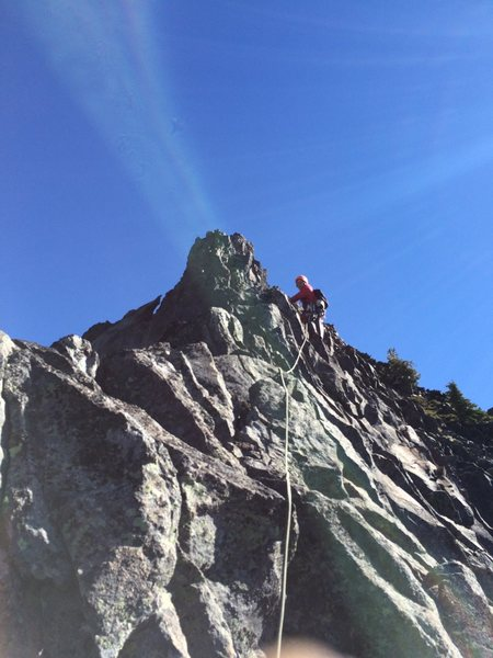Rock Climbing Photo: leading up the dinner plate pitch.