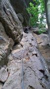 Rock Climbing Photo: Me leading Green Hornet