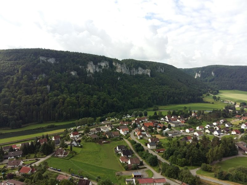 A view of Hausen im Tal as seen from the first belay at Stuhlfels. Hausen i.T. is at the center of Donautal and the main reference point for climbers hitting the 20+ crags in the area.