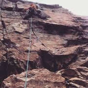 Rock Climbing Photo: Myself on the second pitch on a windy April aftern...