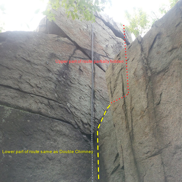 Rock Climbing Photo: Lower part of route (same as Double Chimney start)...
