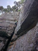 Rock Climbing Photo: Keith cruised past the low crux and is enjoying th...