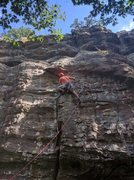 Rock Climbing Photo: Jon is getting ready to traverse under the first r...