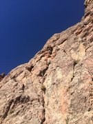 Rock Climbing Photo: Hunter on pitch 1. This photo shows the first two ...