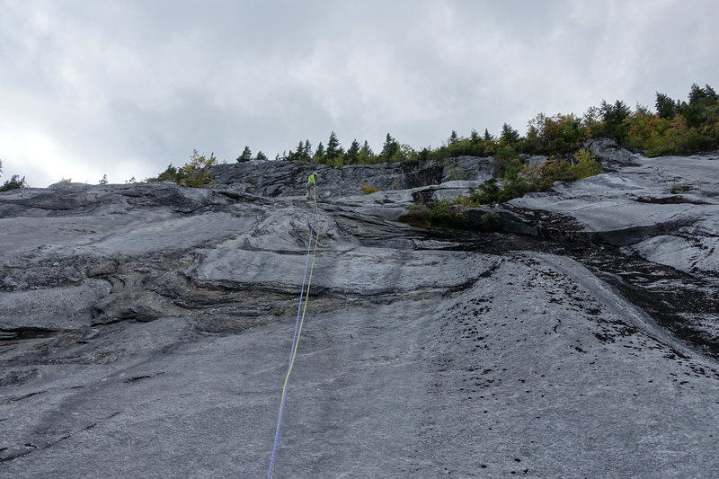 Higher up on fifth pitch and belay.