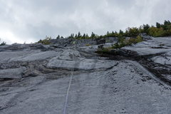 Rock Climbing Photo: Higher up on fifth pitch and belay.