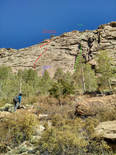 Rock Climbing Photo: Beta photo of Center Route, Unknown 5.7, & D4.