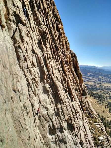 Rock Climbing Photo: Climbers on pitch 2 of D4.