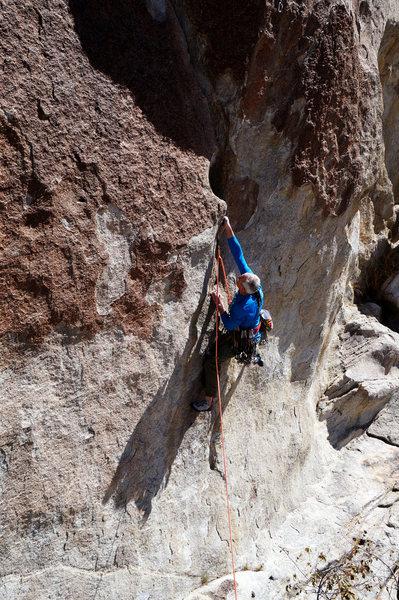 Rock Climbing Photo: Calvin sticks the crux move on Checkered Demon.