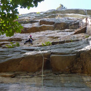Rock Climbing Photo: Alissa at the last gear until the 2nd roof.