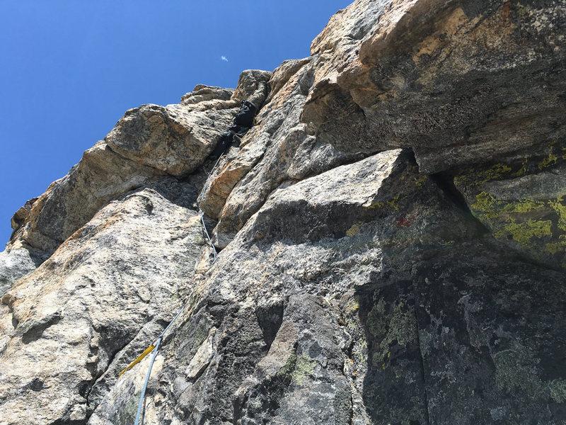 Belay above pitch 2, some variation of SE Ridge of Middle Teton