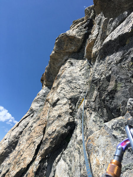 Another shot of our belay above pitch 2 of the SE Ridge of Middle Teton