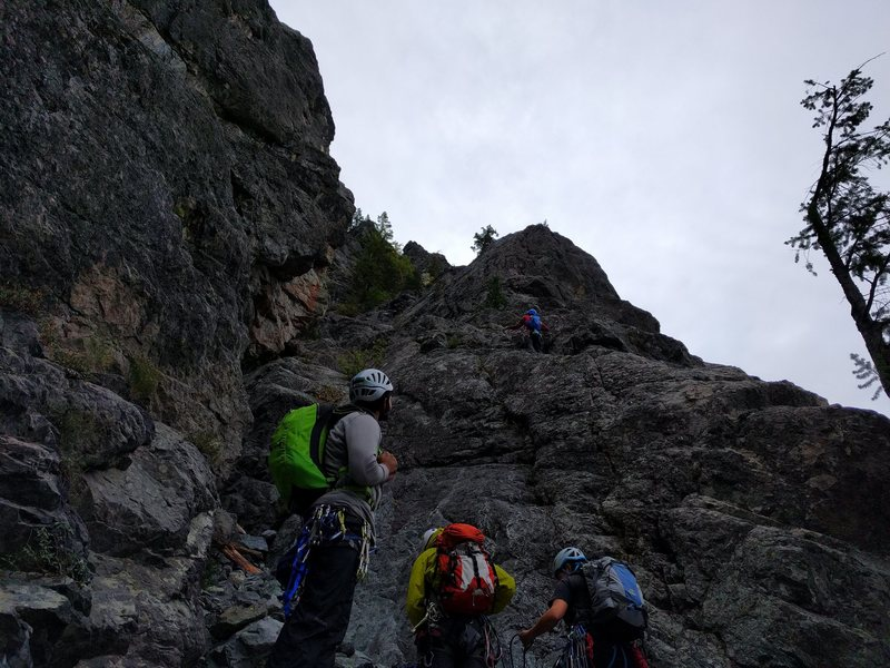 View of Pitch 1 from the base of the route.