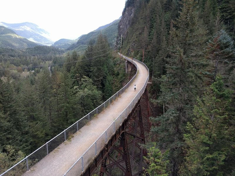 View of the bridge on the Iron Horse Trail from the top of Write-Off Rock Wall.