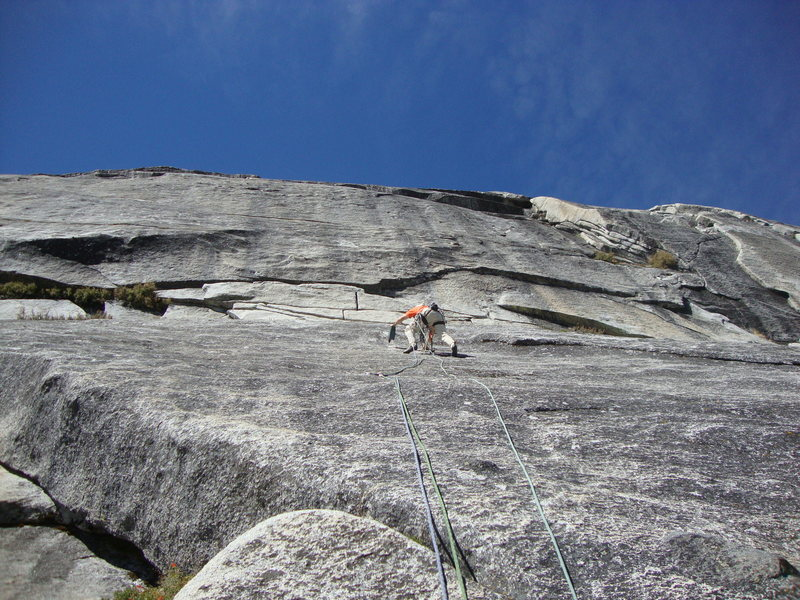 Warm Black Knobs: Herb Laeger on start of second pitch with Gary Sullivan on belay. FA 9/15/2012