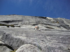 Rock Climbing Photo: Warm Black Knobs: Herb Laeger on start of second p...