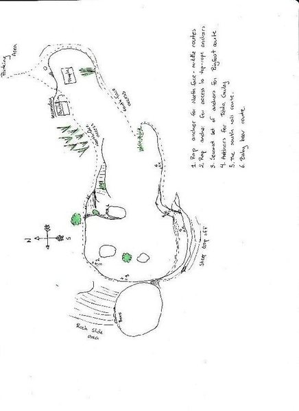 A topo of Chittipara. Just describes the different sections of the area and the locations of some of the anchor points.