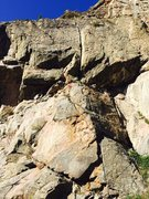 Rock Climbing Photo: The route (anchors shown with red).