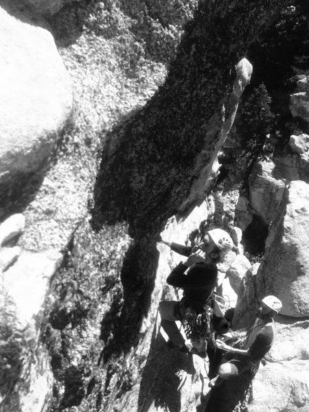 C. Norwood on the crux second pitch of Black Death!!