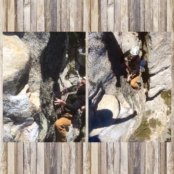 Rock Climbing Photo: Crux move on the second pitch!!!