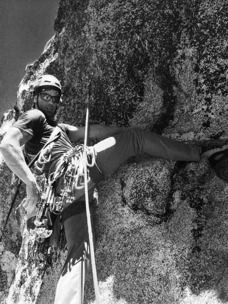 Getting ready to send the crux V1 boulder problem during the FA of Negro Muerto!<br> Pic. By Howard Ballou