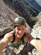 Rock Climbing Photo: 50 feet from the top of The Great Chimney. The mai...