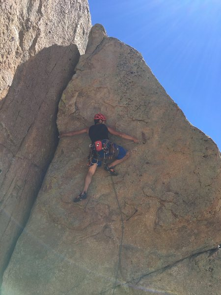 Going for bolt 2 of Rawhide. Crimps and tiny footholds to get to this point.