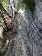 Rock Climbing Photo: The step down to the belay ledge for Millenium Fal...