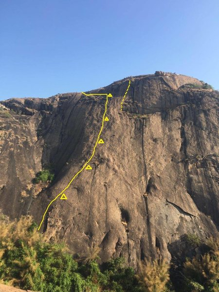 Rock Climbing Photo: Route topo. The dotted line to the right is the la...