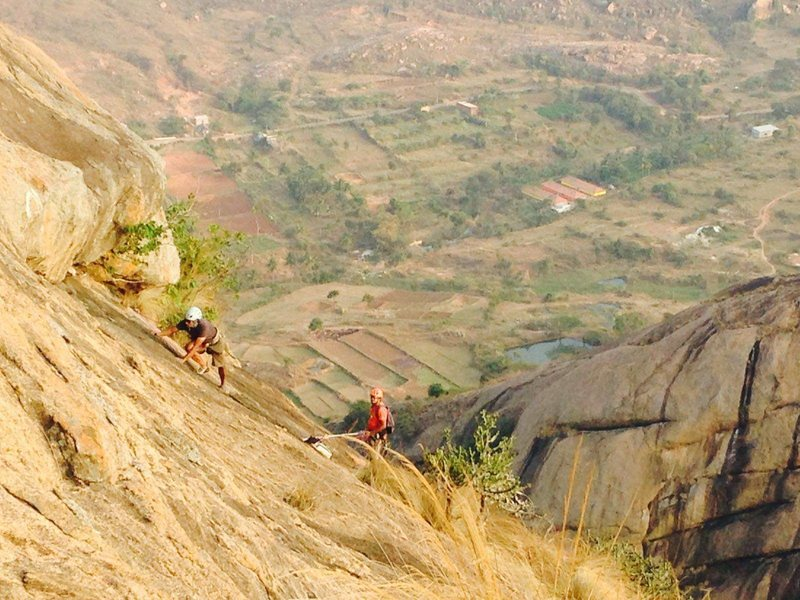 Rock Climbing Photo: Sohan, approaching the roof crack on the final pit...