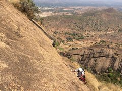 Rock Climbing Photo: Satish approaching the end of the traverse on the ...